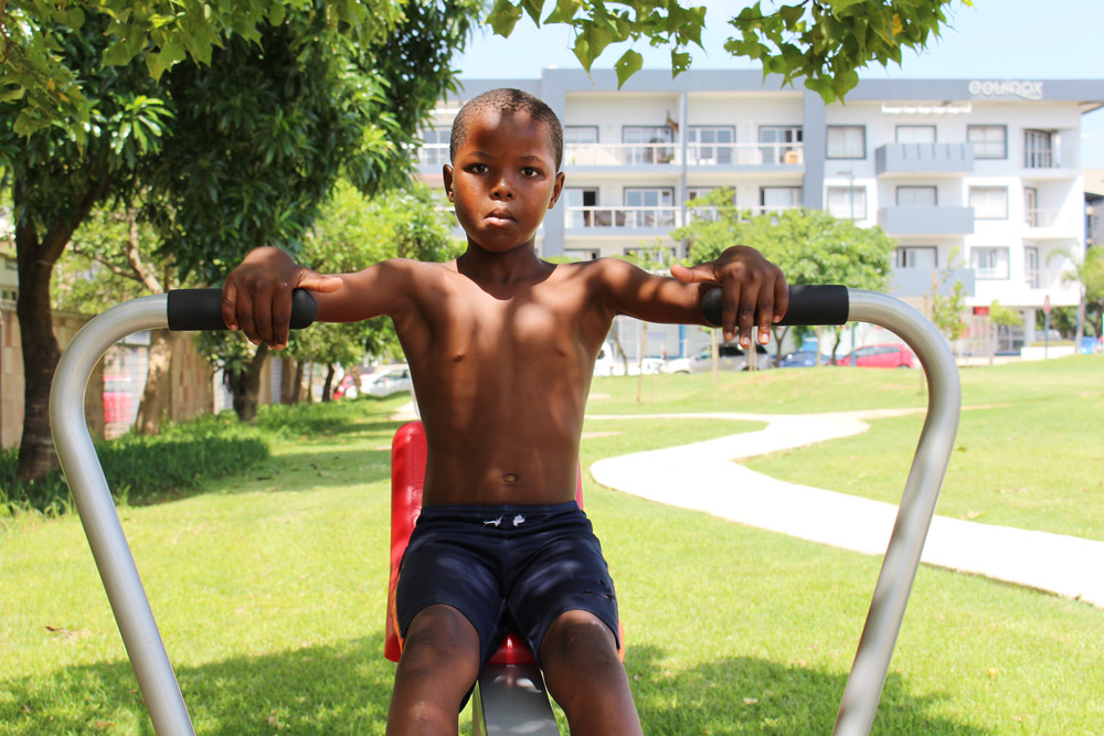 FEATURED IMAGE: Trevor Sithole (8) of Manhattan Mews, Umhlanga, on the rowing machine. Pictures: MH